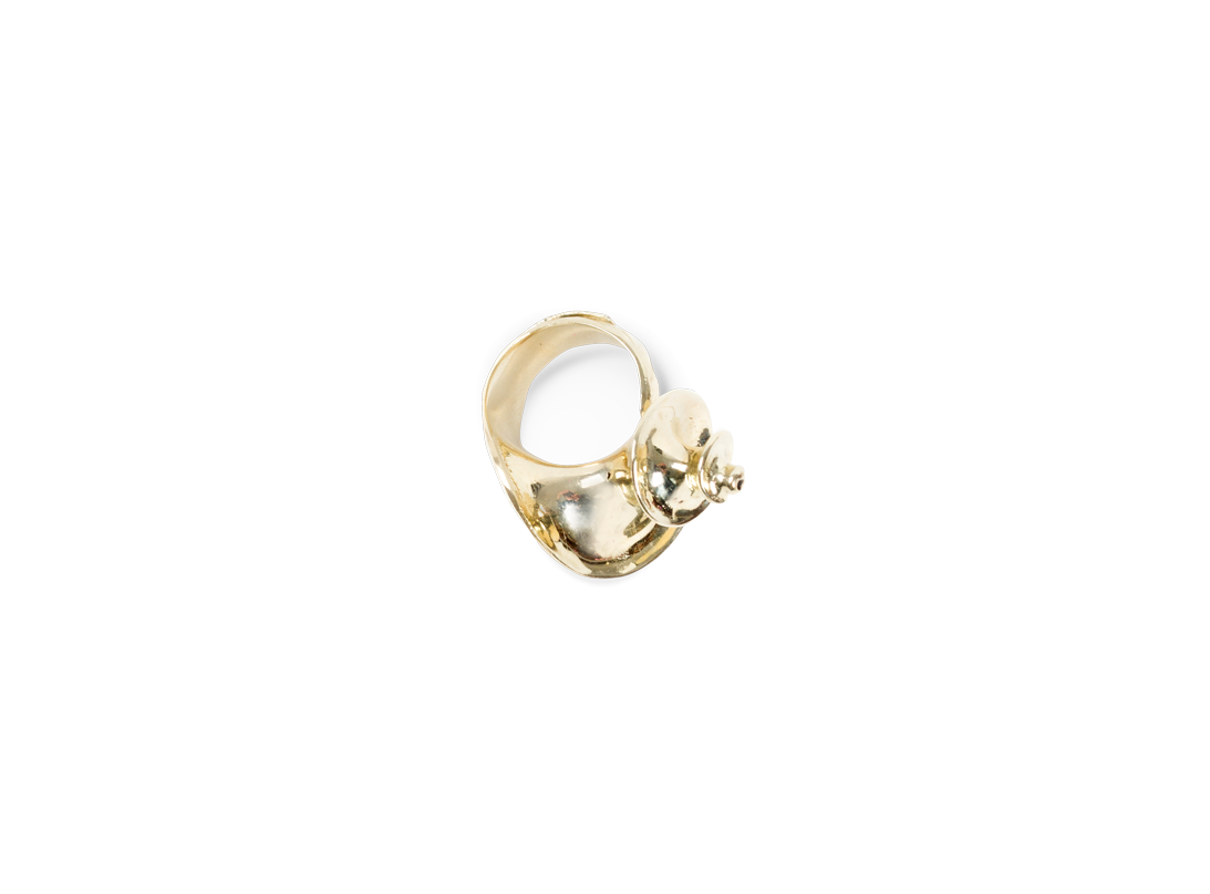 Shell ring gold slide
