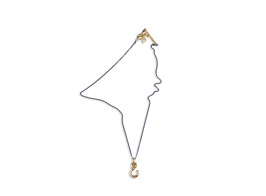 Fish hook necklace Gold slide