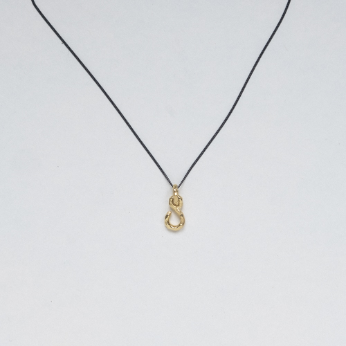 Fish hook necklace Gold thumbnail