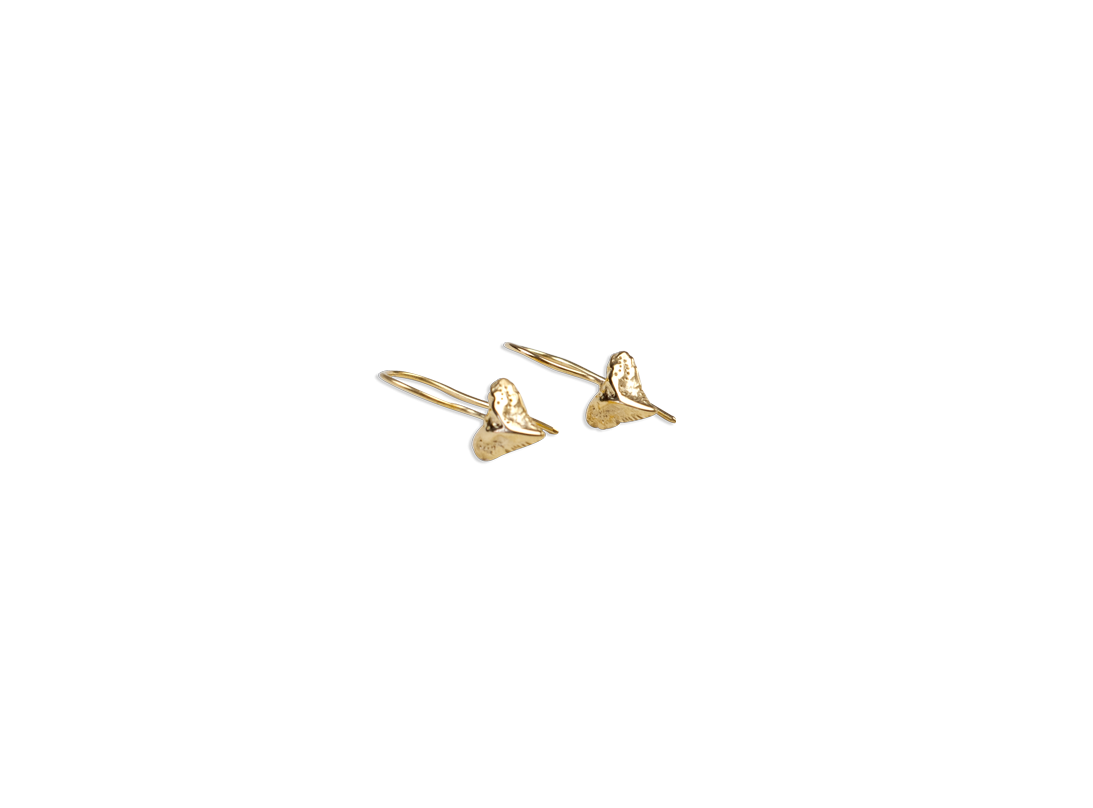 small shark tooth earring gold slide