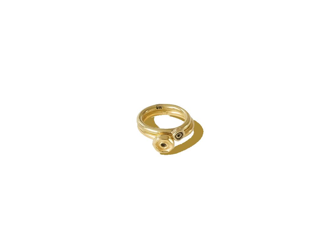 Octopus dot ring medium gold slide