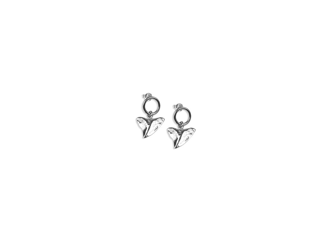 Shark tooth earrings silver slide