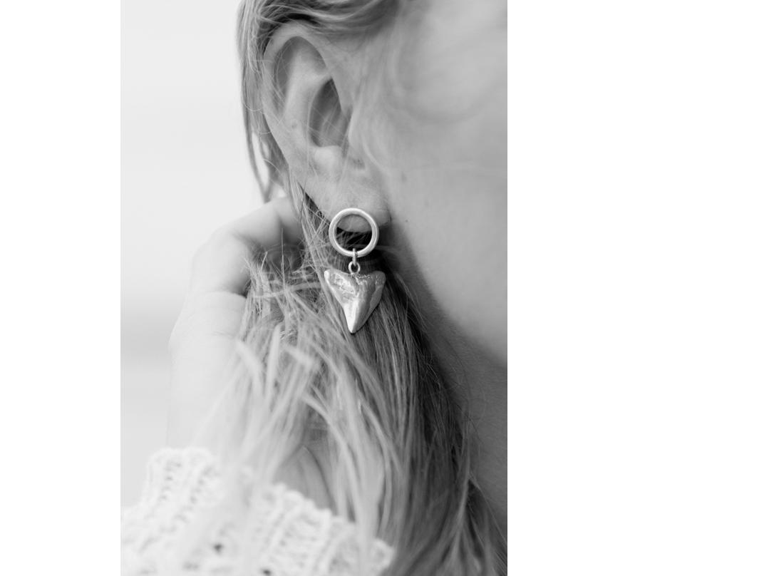 Shark tooth earrings silver slide