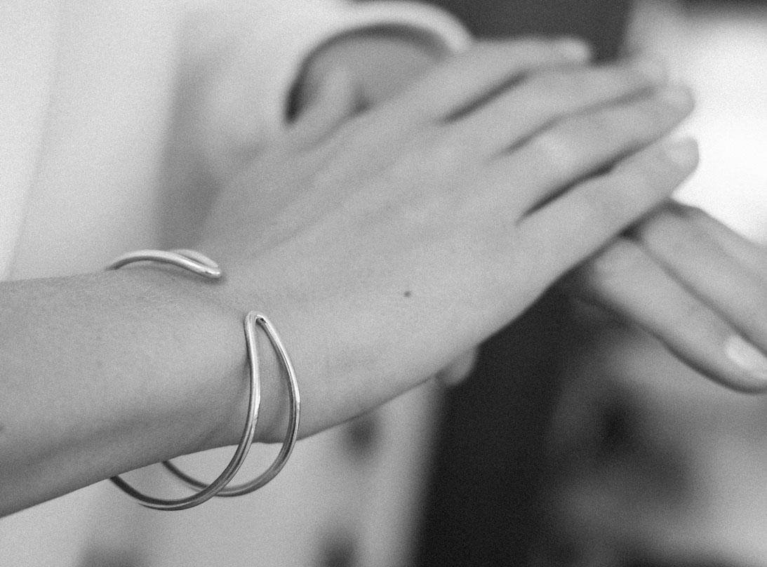 Blend bracelet silver black slide