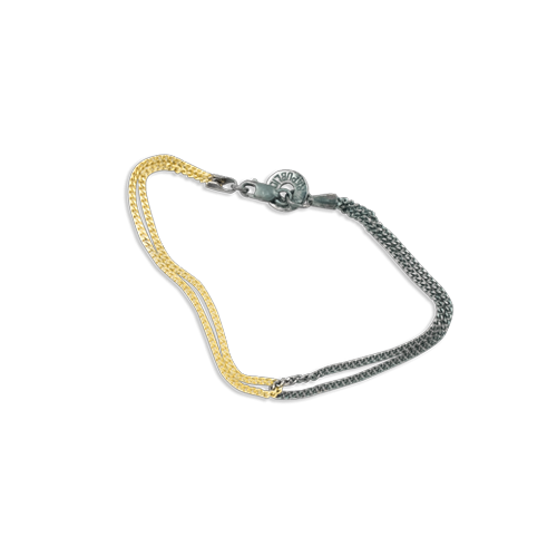Duality chain bracelet black gold thumbnail
