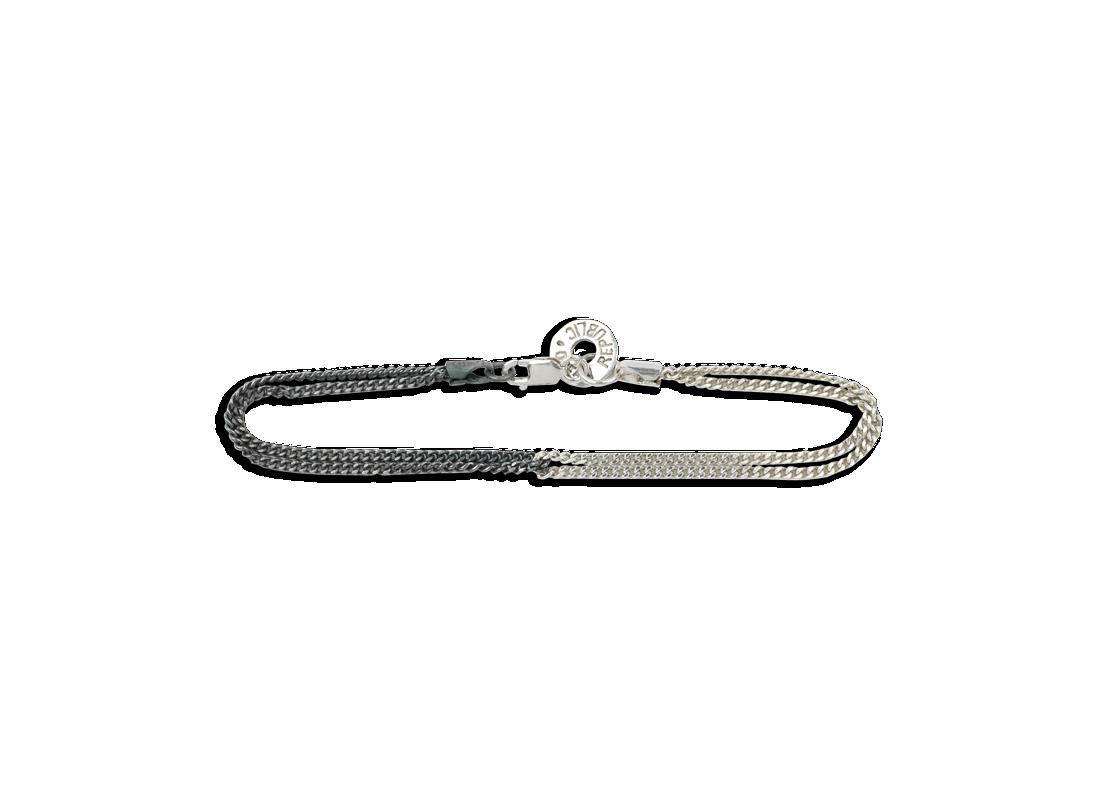 Duality chain bracelet black silver slide