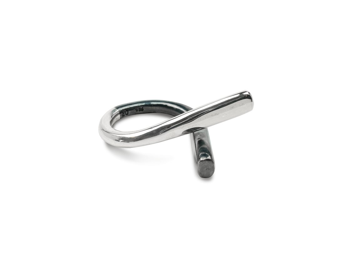 CONTRAST RING SILVER BLACK slide